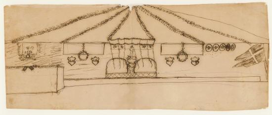 Tegning af H.C. Andersen. Udkast til udsmykningen i festteltet ved Glorup i anledning af soldaternes hjemkomst fra treårs-krigen. Kilde Odense Bys Museer