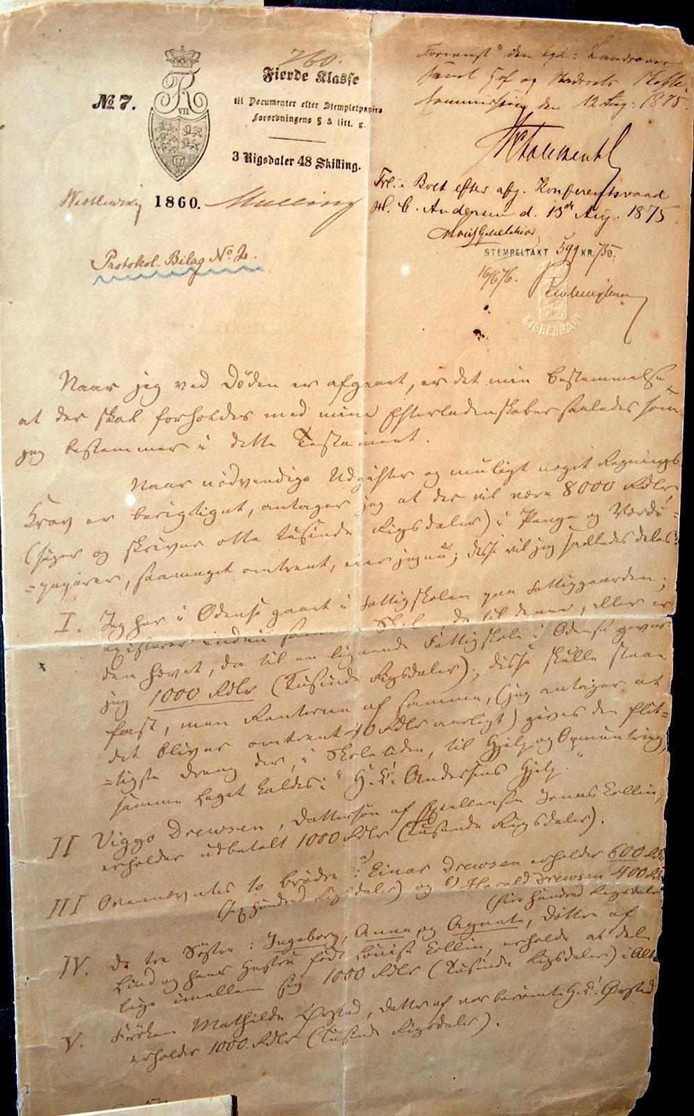 H.C. Andersens testamente 1860. Foto Lars Bjørnsten Odense