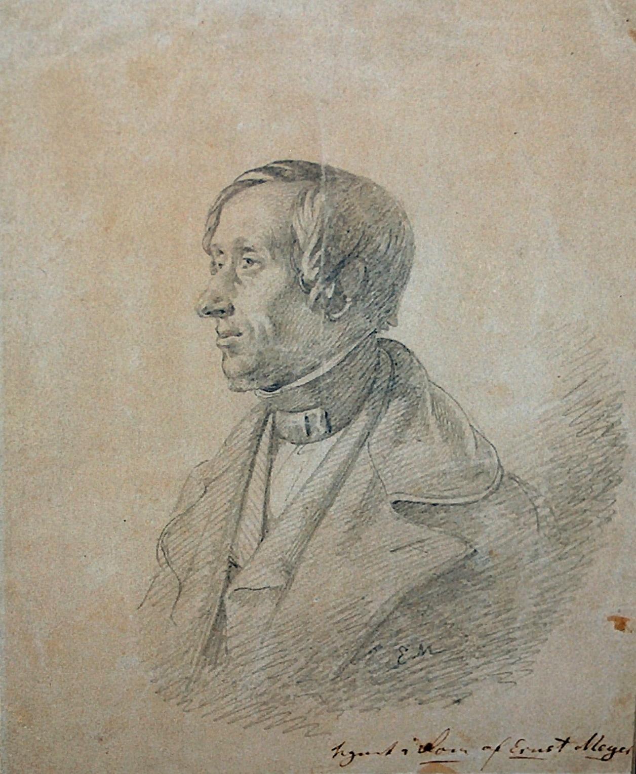 H.C. Andersen tegning af Ernst Meyer, Rom 1841. Det Kongelige Kobberstiksamlingen