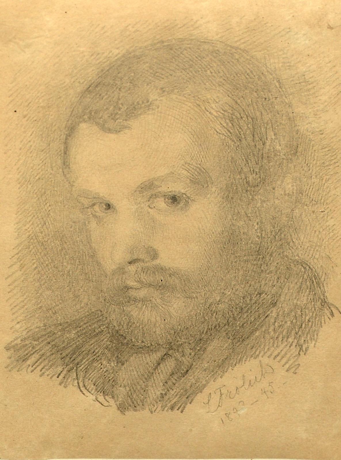 Lorentz Frølich (1820-1908). Selvportræt tegnet 1843-1845. Foto Lars Bjørnsten Odense 2005