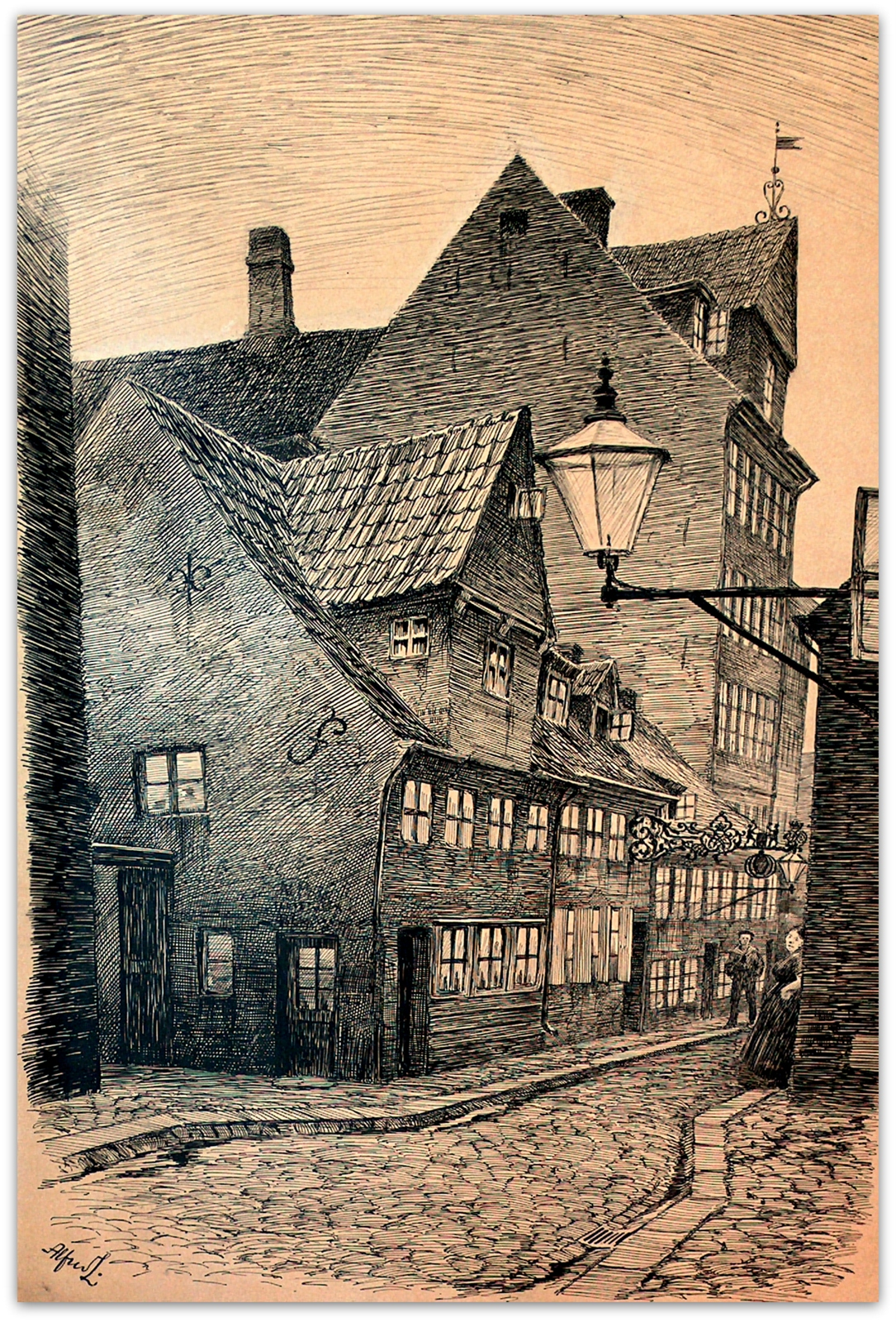 Skitsen af Holmensgade 8 er sandsynligvis udført af Alfred Larsen, som også har lavet et maleri fra stedet. Set på Københavns Bymuseum. Foto Lars Bjørnsten Odense 2005