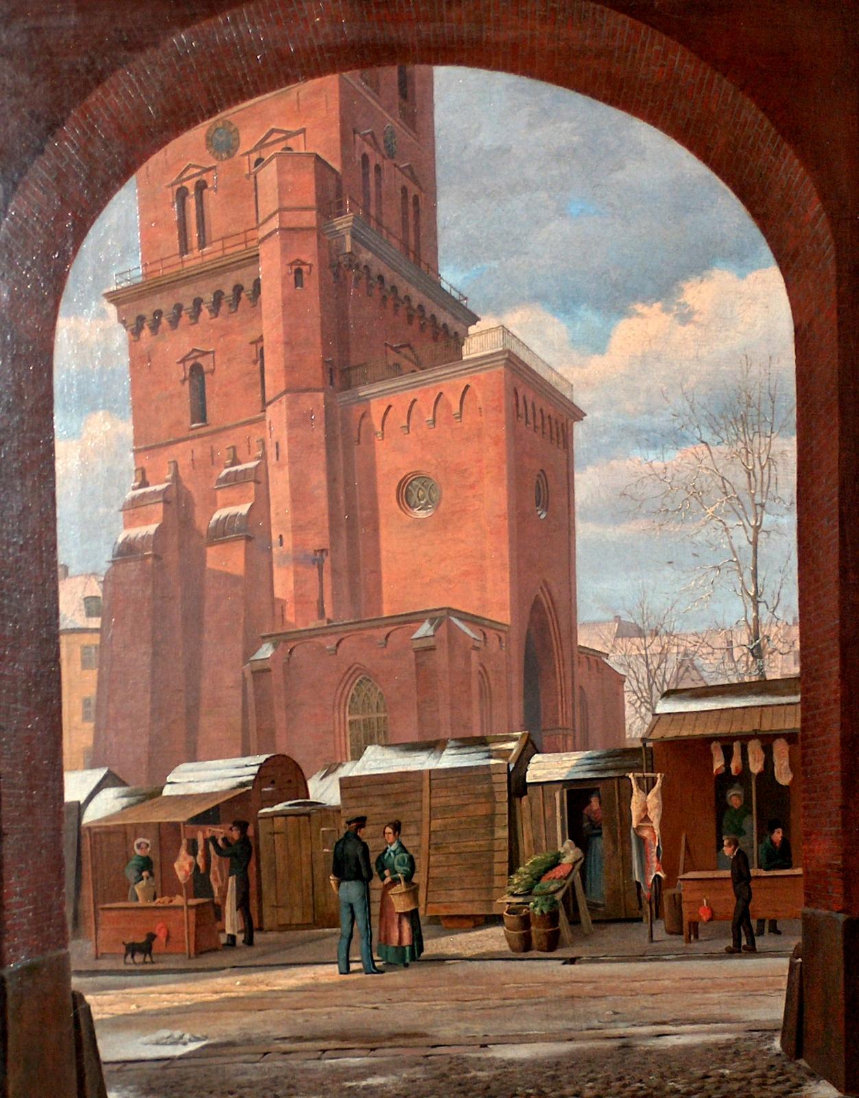 Nikolaj Tårn med handelsboder. Andreas Juuel ca 1845. Københavns Bymuseum. Foto Lars Bjørnsten 2005.
