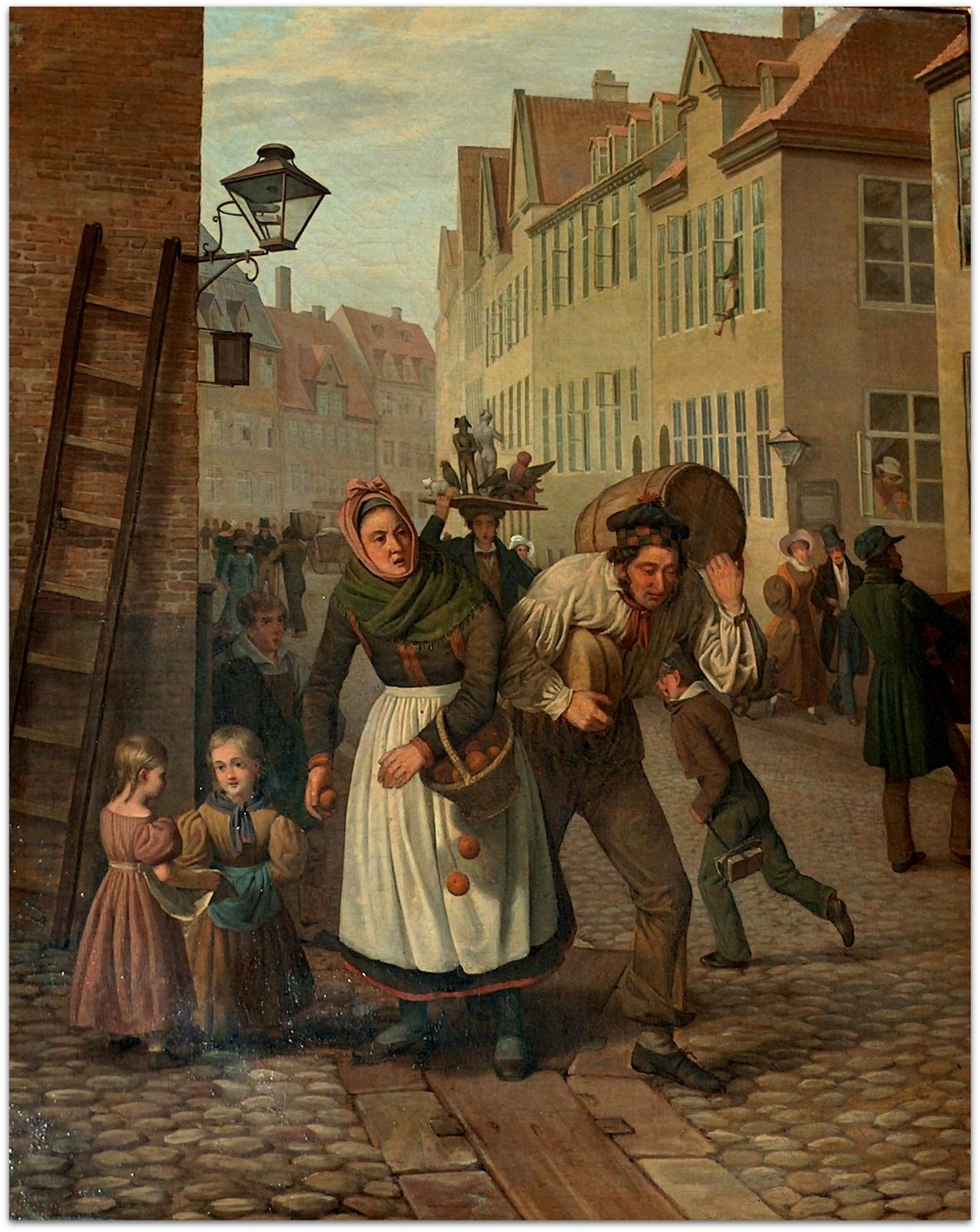 H.C. Andersens København. Parti fra Magstræde i København. Edvard Lehmann, 1834. Københavns Bymuseum. Foto Lars Bjørnsten 2005.
