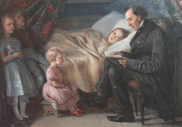 """Udsnit af Elisabeth Jerichau-Baumann maleri: H.C. Andersen læser historien """"Engelen"""" for malerindens børn 1862. Foto: Lars Bjørnsten Odense"""