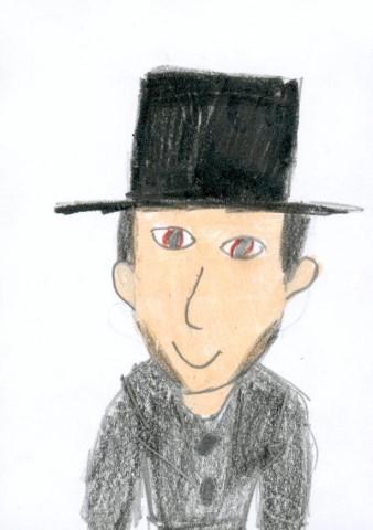 H.C. Andersen tegnet af Marie 8 år, ikke på en pigeskole , men på Spurvelundskolen i Odense den 23. august 2002.