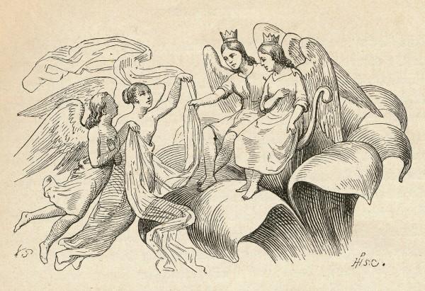 """Illustrationer til H.C. Andersens eventyr """"Tommelise"""" 1835 udført af tegneren Vilhelm Pedersen. Foto Lars Bjørnsten Odense"""