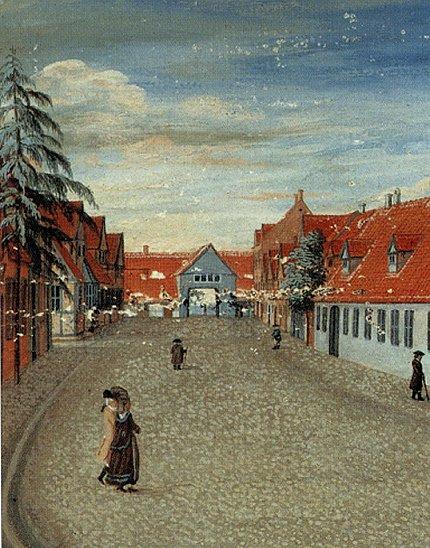 Maleri af byporten i Sorø omkring 1770 af ukendt kunstner