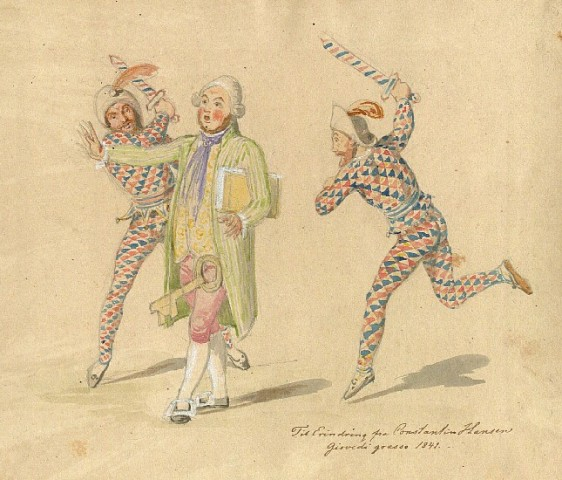 Tegning af Constantin Hansen fra det romerske karneval, dat. 19. februar 1841 Foto kb.dk