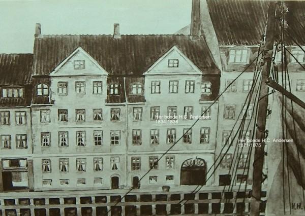 Parti fra Nyhavn. I ejendommen nr. 20. 2.sal (i midten med stor port) boede H.C. andersen 1834-1838 og i ejendommen nr. 18. 1.sal (yderst til højre) fra 1871 -1875. Fotografi efter akvarel af Harald Henriksen. Foto Lars Bjørnsten Odense.