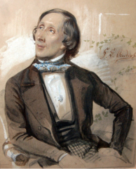 H.C.  Andersen, akvarel malet af Karl Hartmann 1845