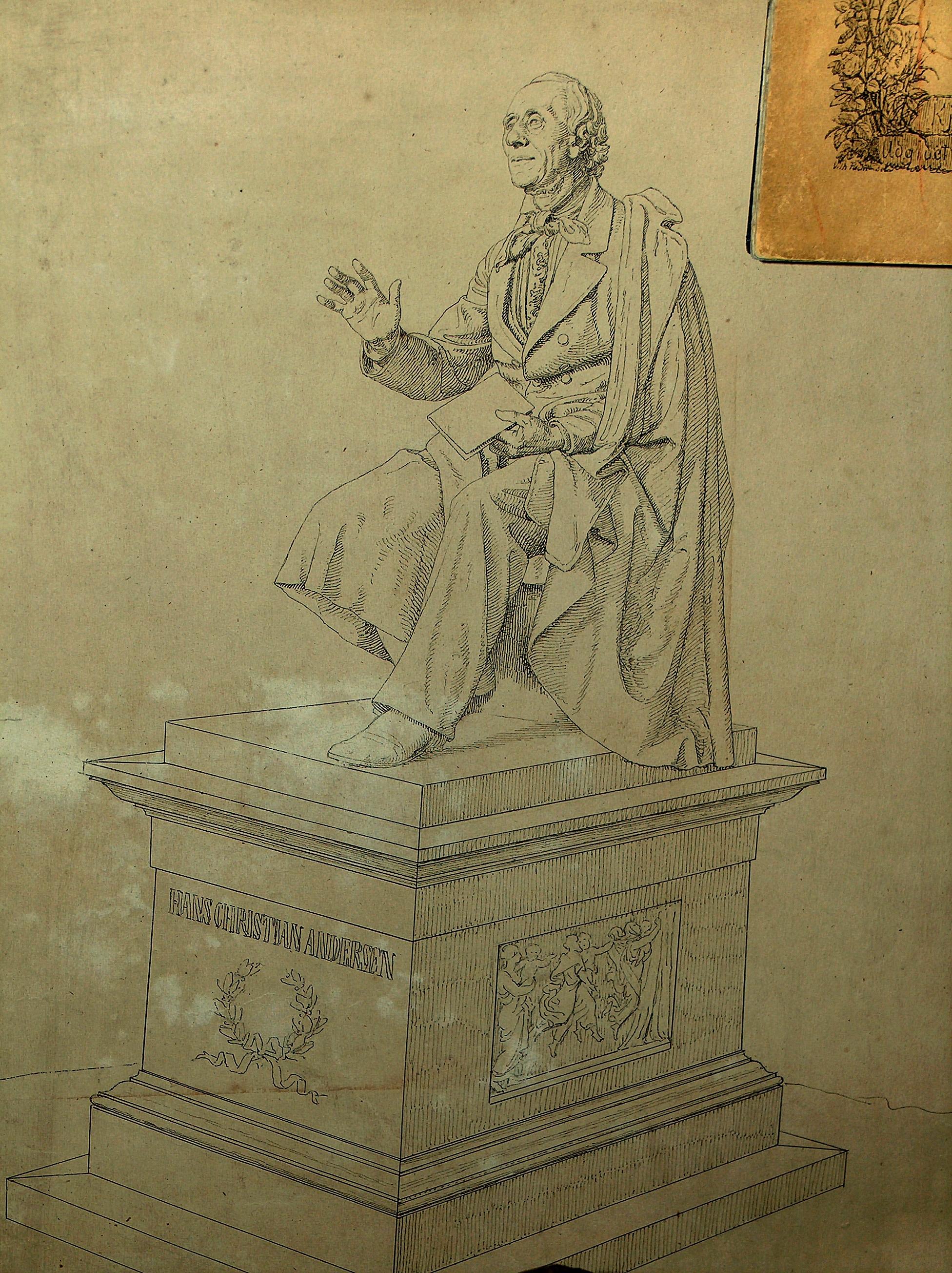 August Saabyes skitser til H.C. Andersen Monumentet i Kongens Have -Rosenborg Have i København.