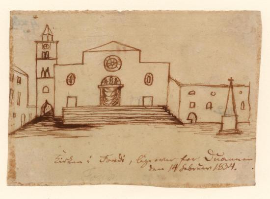 'Kirken i Fondi, lige over for Duannen den 14 Februar 1834'
