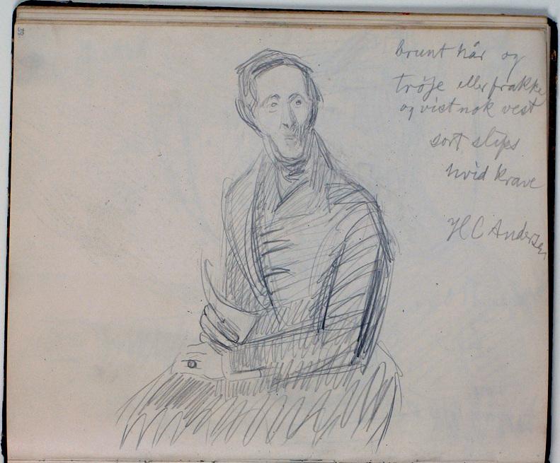 Niels Larsen Stevns (1864-1941), Studie af H. C. Andersen efter maleri af Chr. Albr. von Benzon 1835. Farveangivelser, About 1930