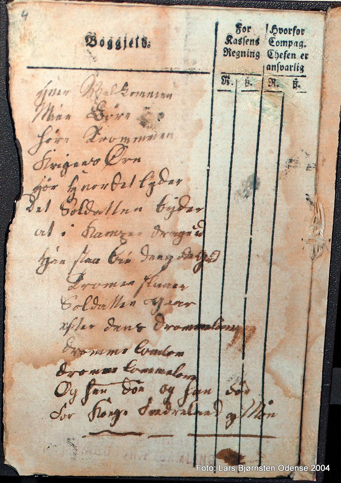 En soldatervise, som stod først i H.C. Andersens faders militære regnskabsbog